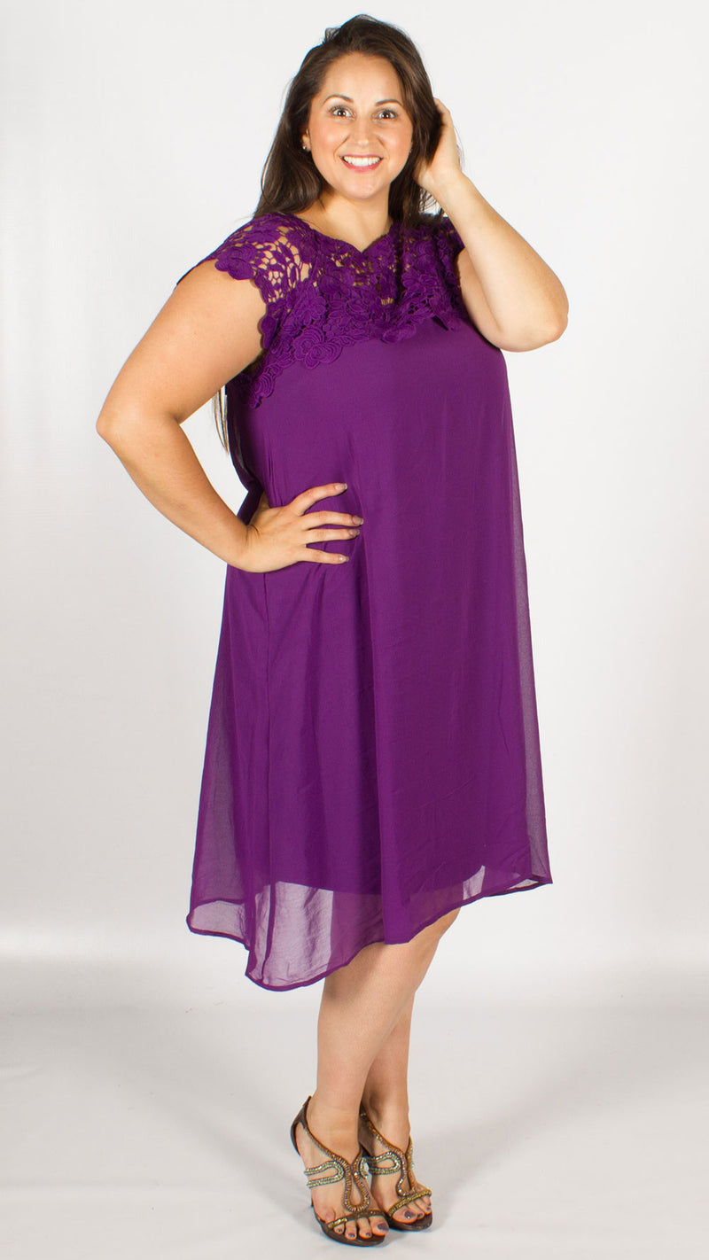 Zarah Sleeveless Purple Lace Dress