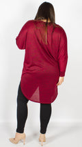 CurveWow Wine Oversized Dipped Hem Top
