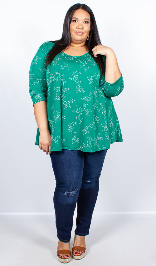 CurveWow Green Flower Print Swing Top