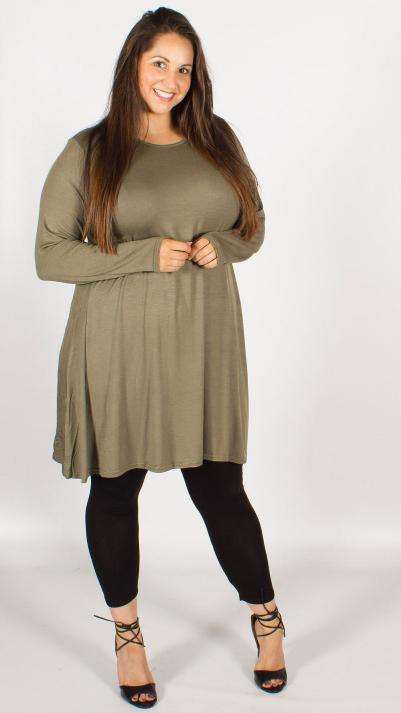 Lillian Plain Swing Dress Khaki