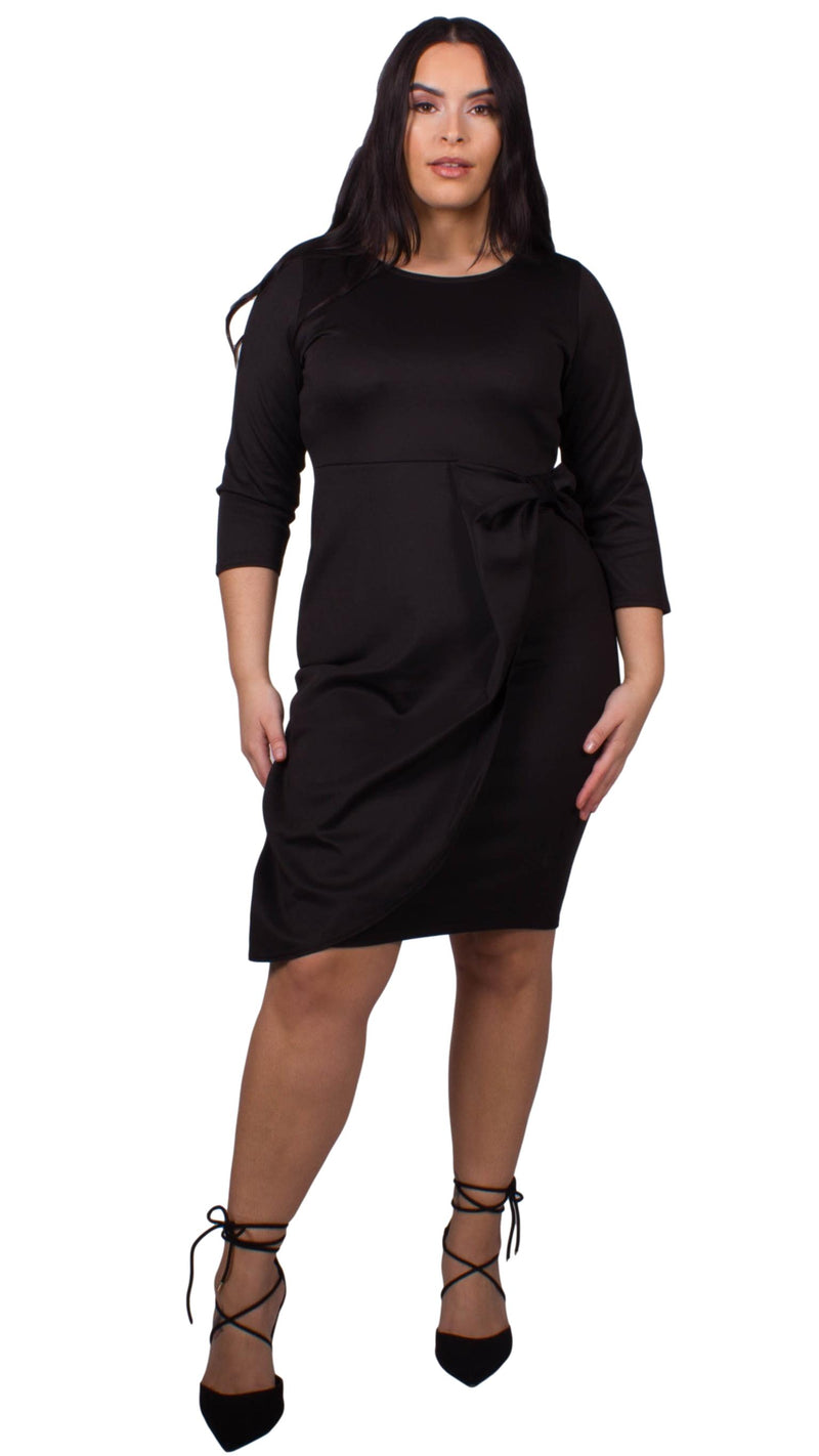 CurveWow Waterfall Peplum Midi Dress Black