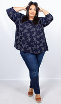 CurveWow Navy Flower Print Swing Top