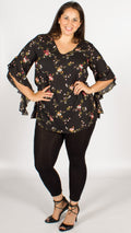 Auckland Black Floral Blouse with Assymetric Flute Sleeves