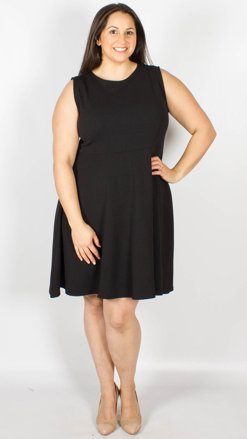 CurveWow Black Skater Dress