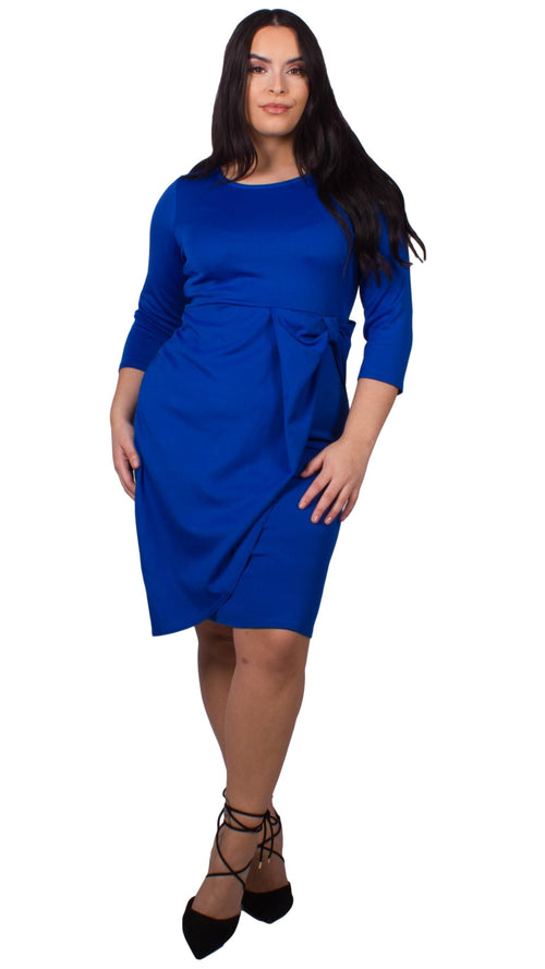 CurveWow Waterfall Peplum Midi Dress Royal Blue
