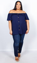 Misha Navy Bardot Top