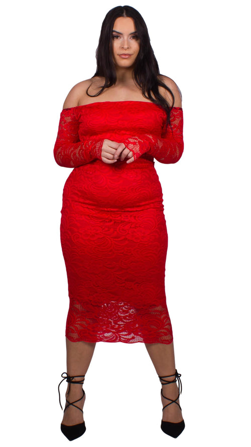 CurveWow Off the Shoulder Lace Midi Dress Red