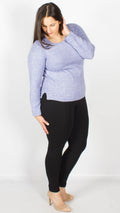 Lincoln Knitted Crew Neck Lilac Jumper