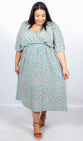 CurveWow Green Floral Wrap Maxi Dress