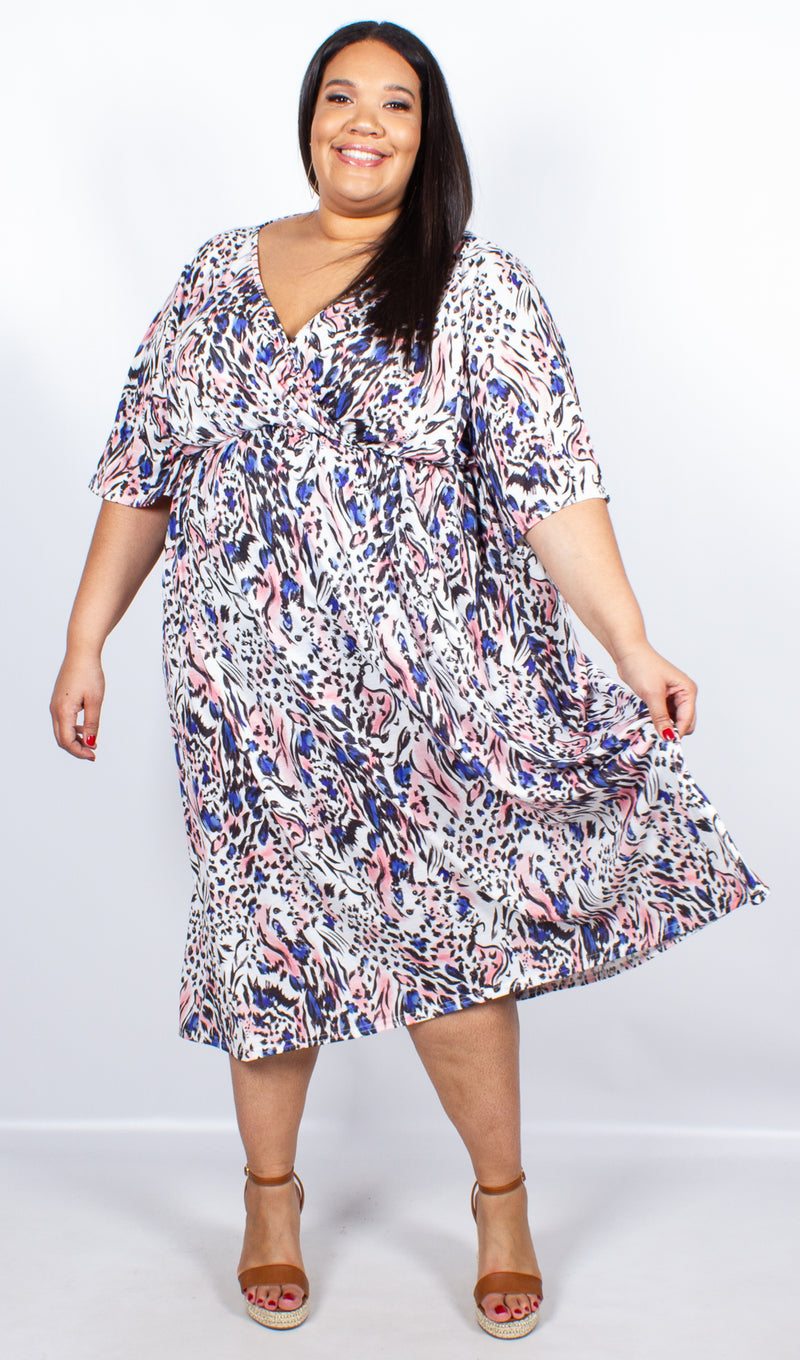 CurveWow White Print Wrap Maxi Dress