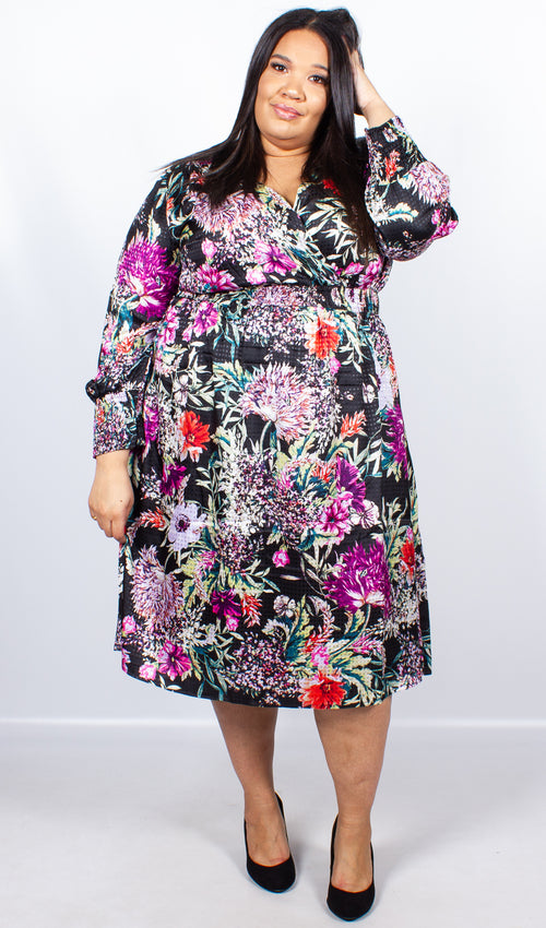 Hazel Floral Wrap Front Midi Dress