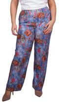Serena Bold Floral Print Pleated Trousers Blue