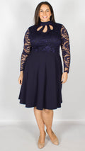 Bendigo Navy High Neck Skater Dress with Keyhole Detailing