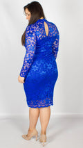 Rosario Blue Midi Dress with Long Sleeves & Scallop Detailing