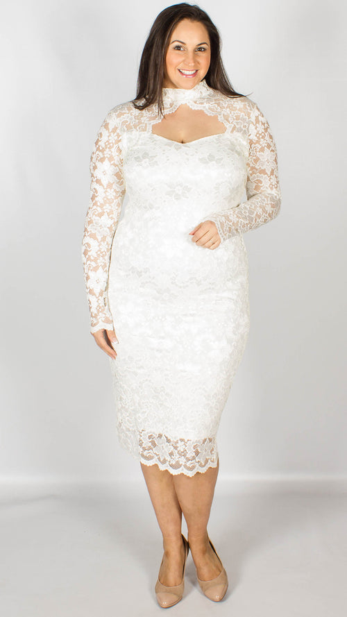 Rosario White Midi Dress with Long Sleeves & Scallop Detailing