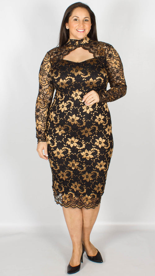 Rosario Gold Midi Dress with Long Sleeves & Scallop Detailing