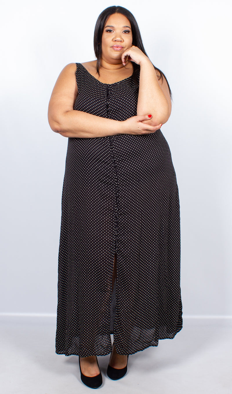 Ava Black Spot Print Button Maxi Dress