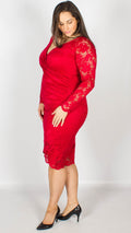 Arica Red Wrap Midi Dress with Scallop Detailing