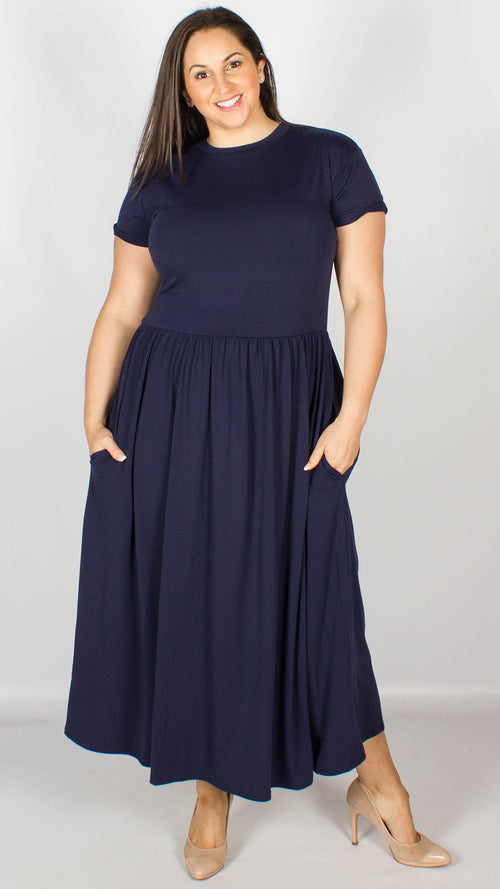 Cebu Navy Midi Fit and Flare Jersey Pocket Dress