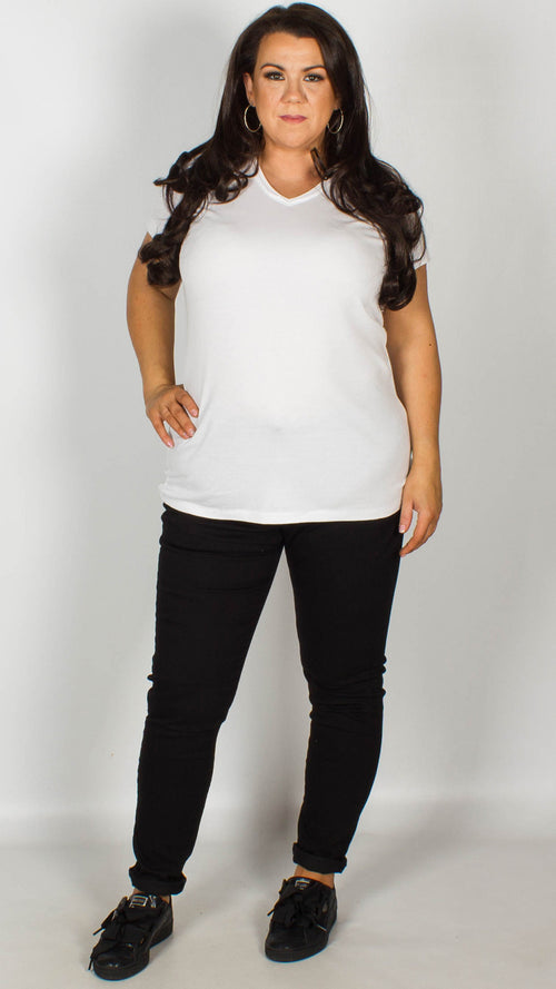 Reece Pure Cotton V-Neck T Shirt White