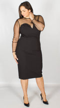 Morticia Polka Dot Mesh Pencil Dress Black