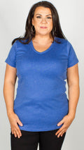 Reece Pure Cotton V-Neck T Shirt Blue
