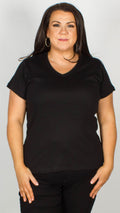 Reece Pure Cotton V-Neck T Shirt Black