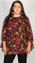 Raynne Floral Smock Top With Tie Sleeves