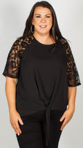 Ria Black Lace Sleeve Top With Knot Front