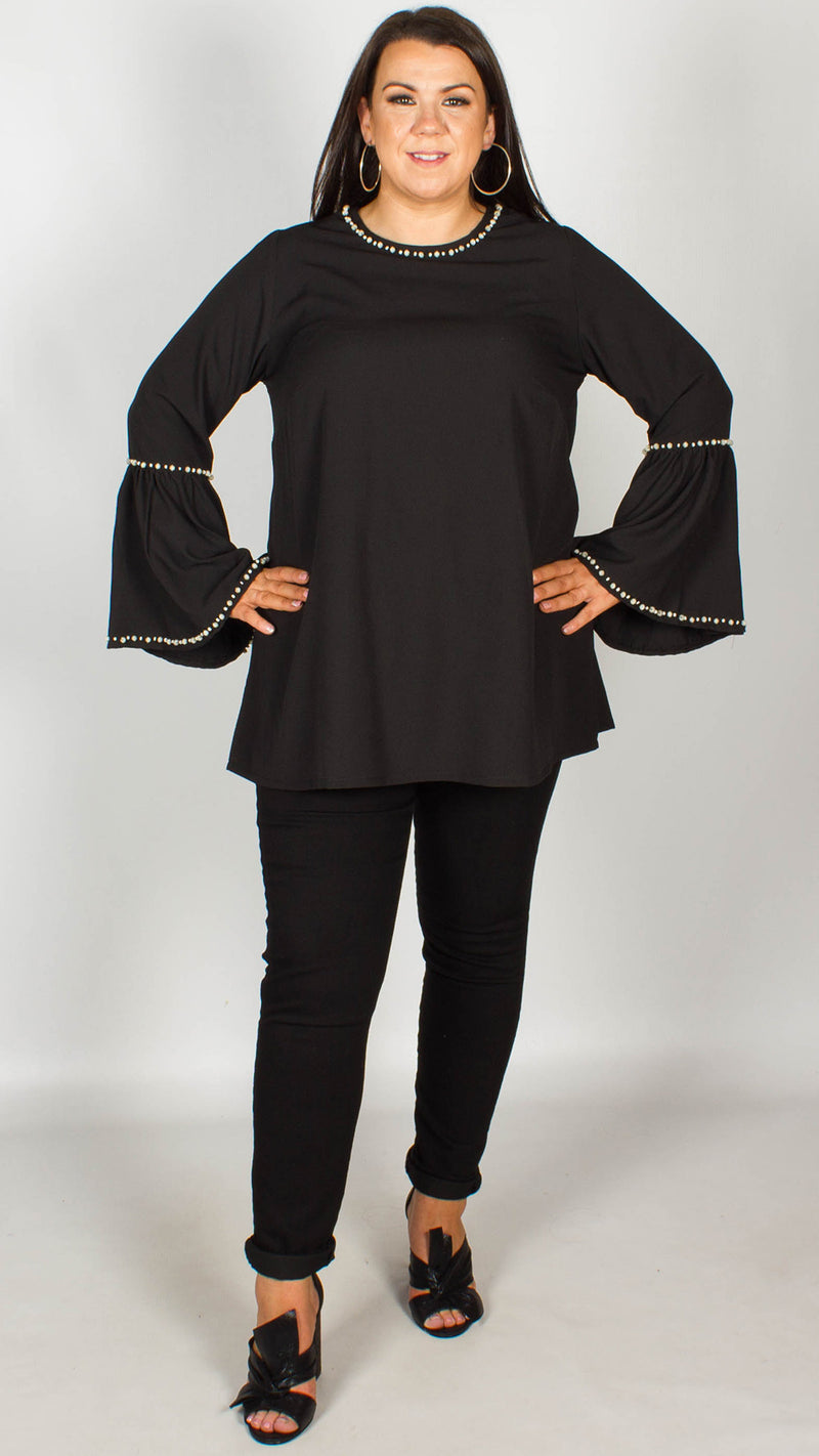 Roxanne Pearl Trim Top With Bell Sleeve