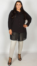 Raygan Black Sheer Hem Shirt