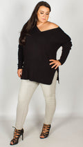 Uri V-Neck Rib Jumper Black