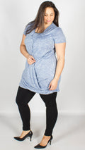 Catrina Longline Wrap Over Tunic Blue Marl