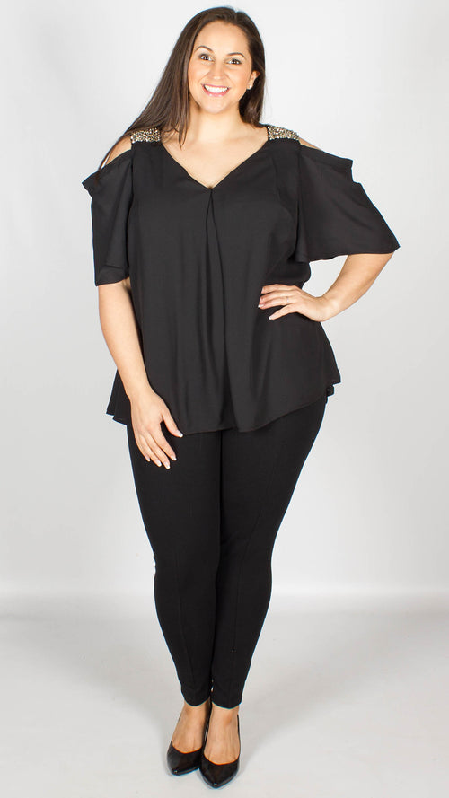 Canete Black V Neck Cold Shoulder Top with Bead Detail