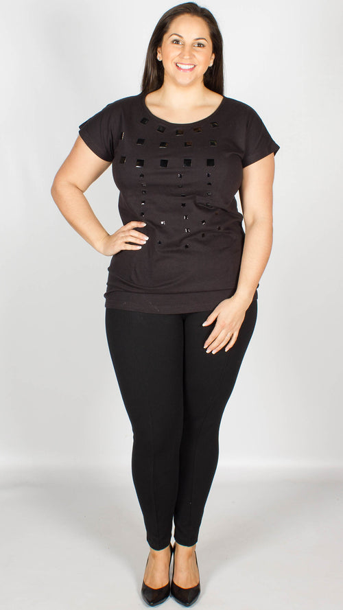 Baton Black Embellished Short Sleeve Top