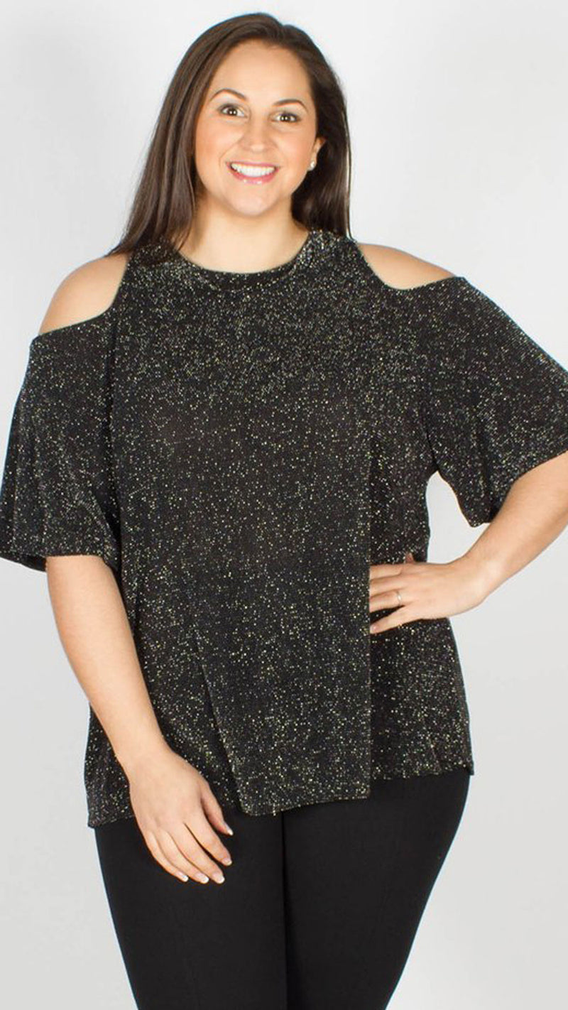 Banjul Cold Shoulder Glitter Top Black