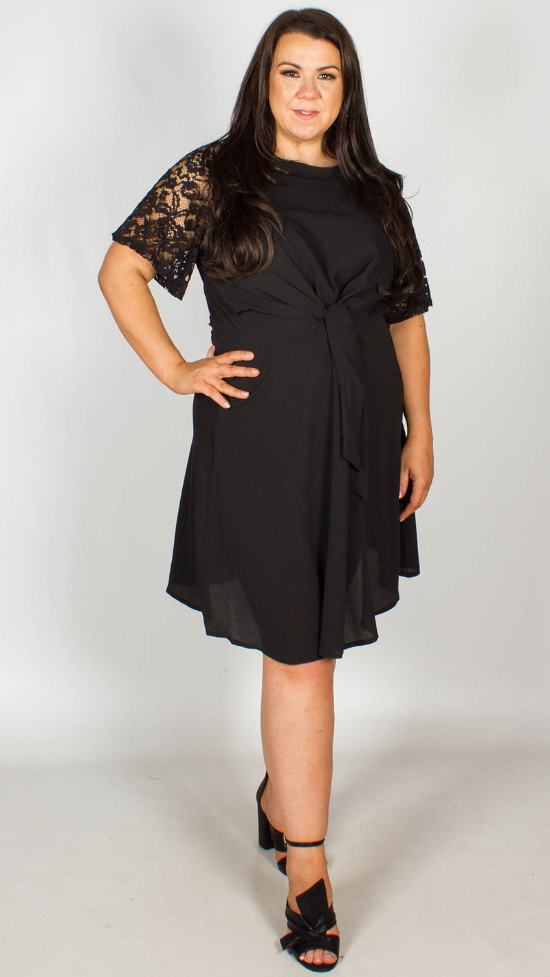 Rita Black Lace Sleeve Dress With Knot Front