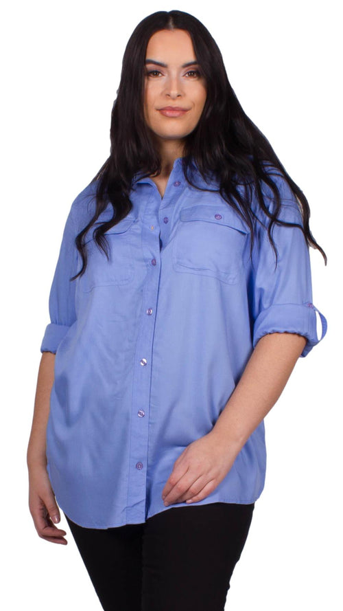 Lucia Sky Blue Utility Button Down Shirt