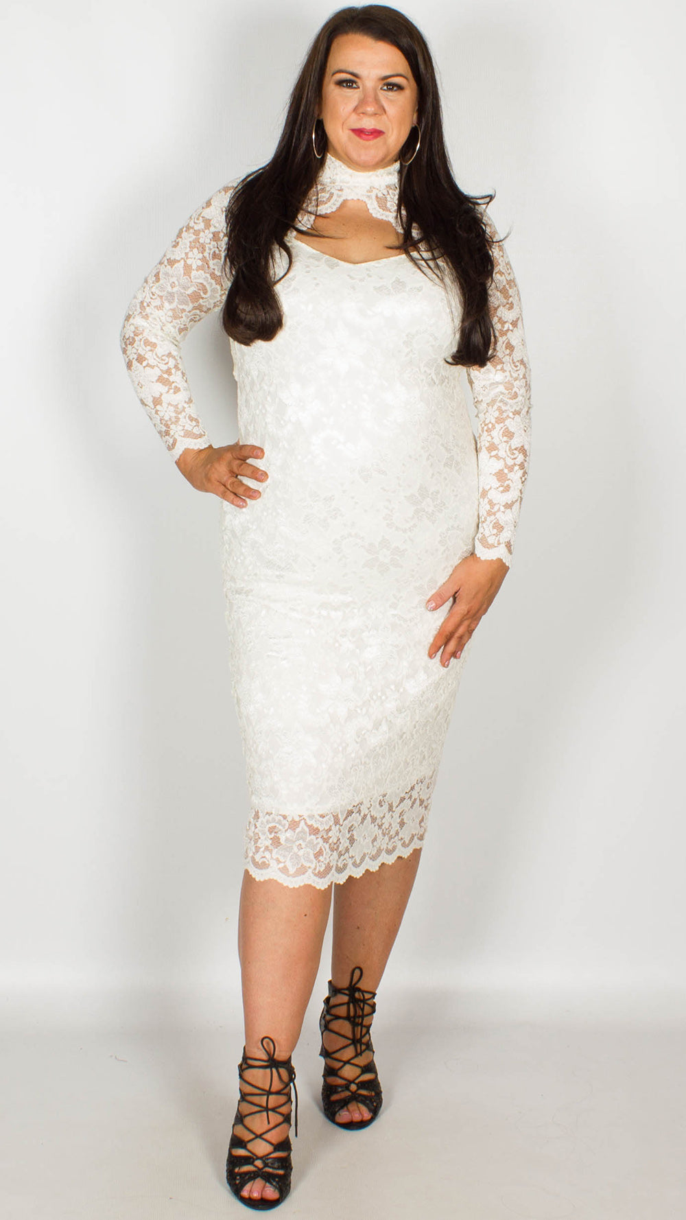 f0db1d304e1c Rosario Cream Midi Dress with Long Sleeves   Scallop Detailing ...