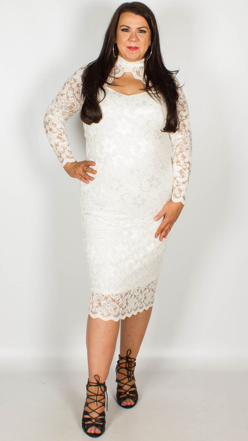 Rosario Cream Midi Dress with Long Sleeves & Scallop Detailing