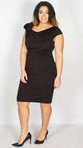 Camila Gathered Shoulder Midi Dress Black