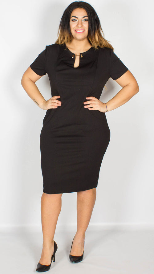 Ariana Fitted Bar Midi Dress Black