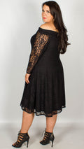 Una Off The Shoulder Lace Swing Dress Black