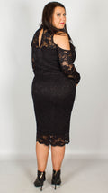 Ursula Premium Cold Shoulder Lace Midi Dress Black