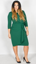 Skylar Waterfall Peplum Midi Dress Emerald