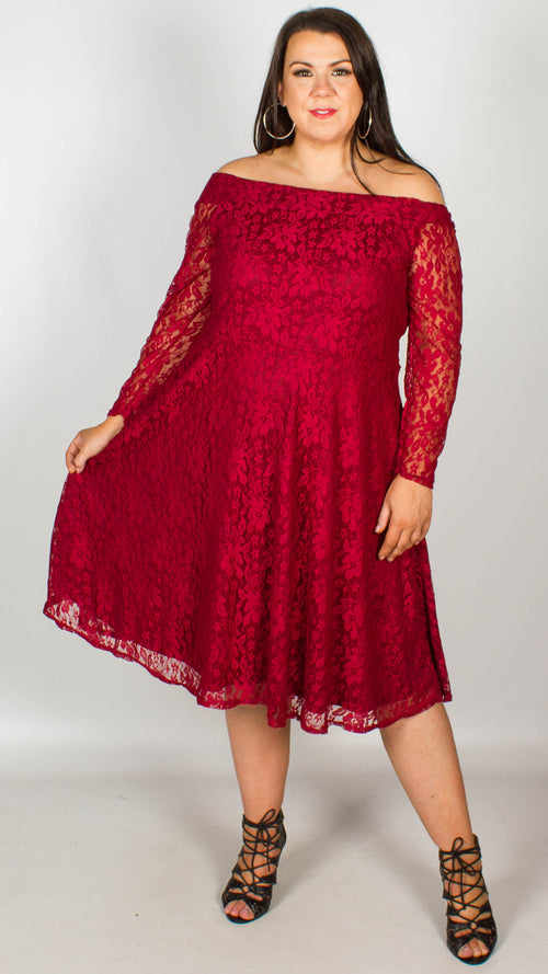 43434f0af70 Una Off The Shoulder Lace Swing Dress Wine
