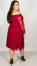 Una Off The Shoulder Lace Swing Dress Wine