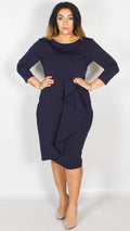 Skylar Waterfall Peplum Midi Dress Navy
