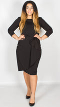 Skylar Waterfall Peplum Midi Dress Black