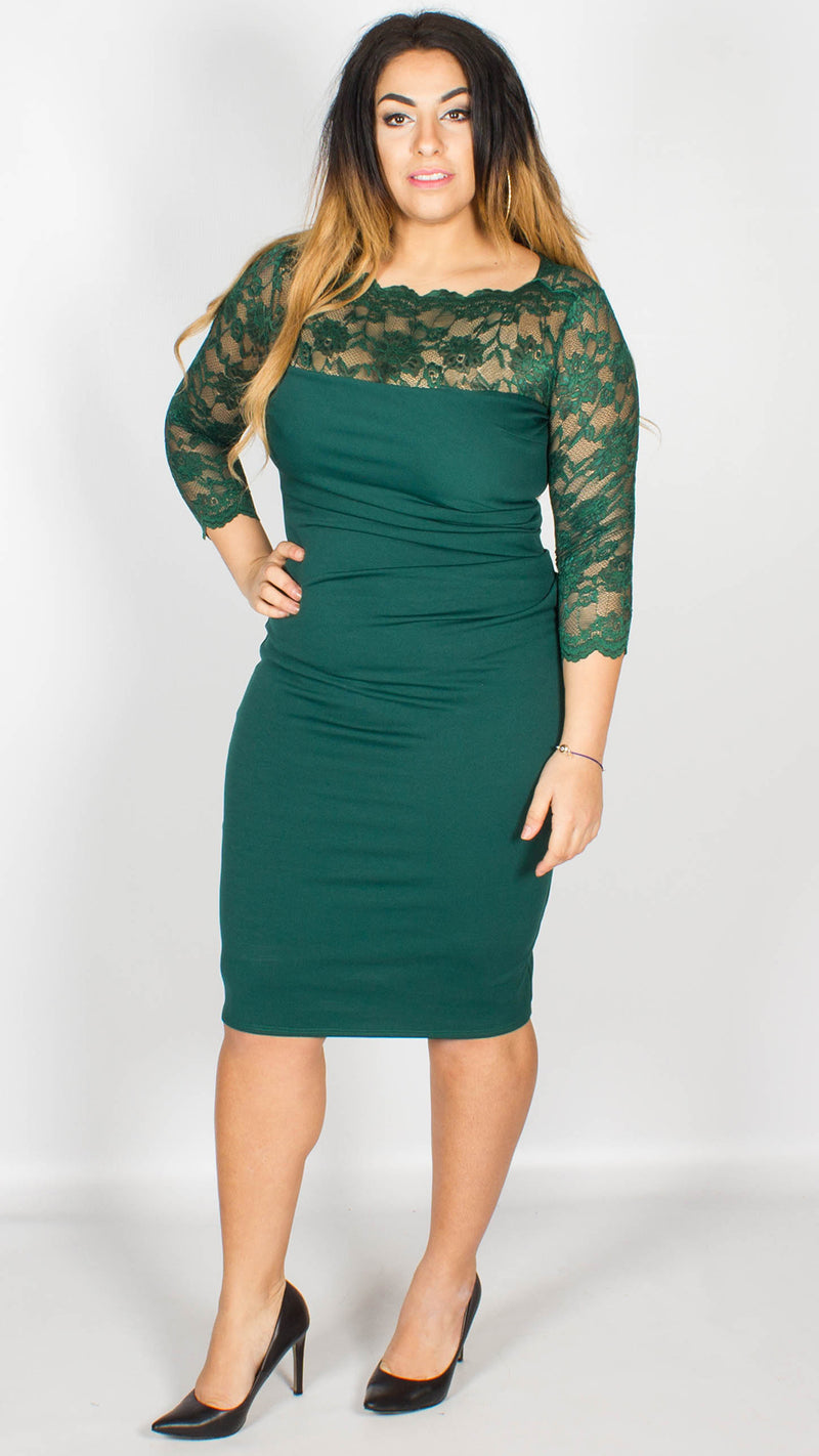 Riley Lace Neckline Midi Dress Emerald